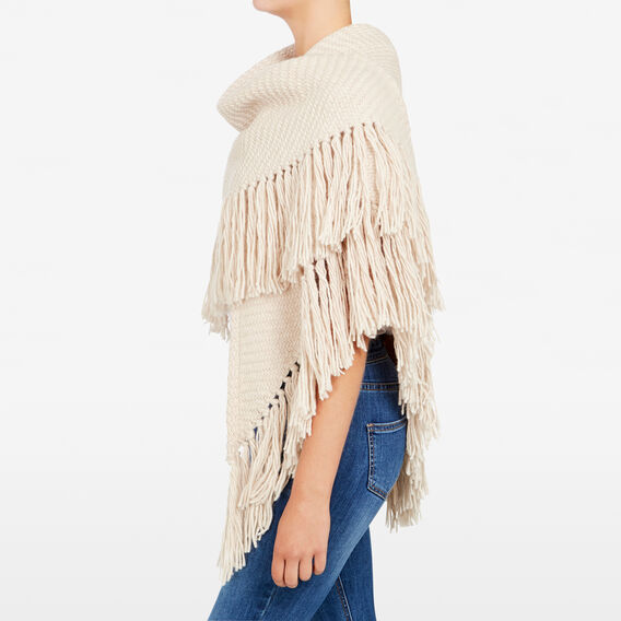 FLUFFY FRINGED WRAP  OATMEAL  hi-res