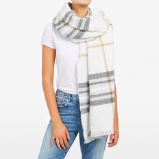 CHECK BLANKET SCARF  SUMMER WHITE/MULTI  hi-res