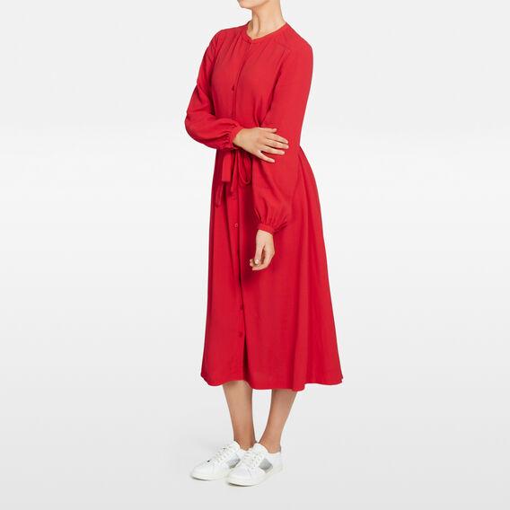 MIDI SHIRT DRESS  RED  hi-res