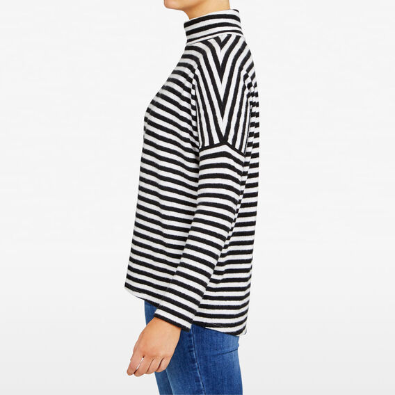 SLOUCHY STRIPE ROLL NECK  SUMMER WHITE/BLACK  hi-res
