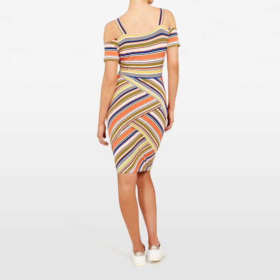 STRIPE COLD SHOULDER DRESS  MULTI  hi-res