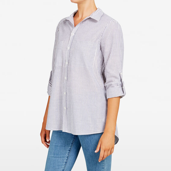 LUREX STRIPE CORE SHIRT  SUMMER WHITE/CHAMBRA  hi-res