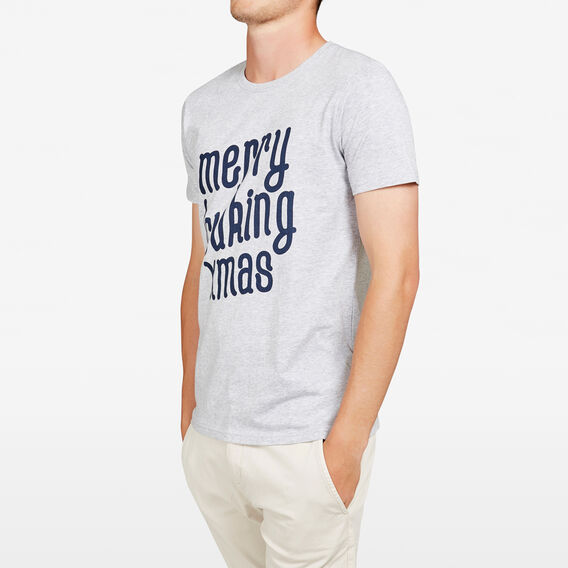 MERRY FCUKING XMAS CREW NECK T-SHIRT  LIGHT GREY MARLE  hi-res