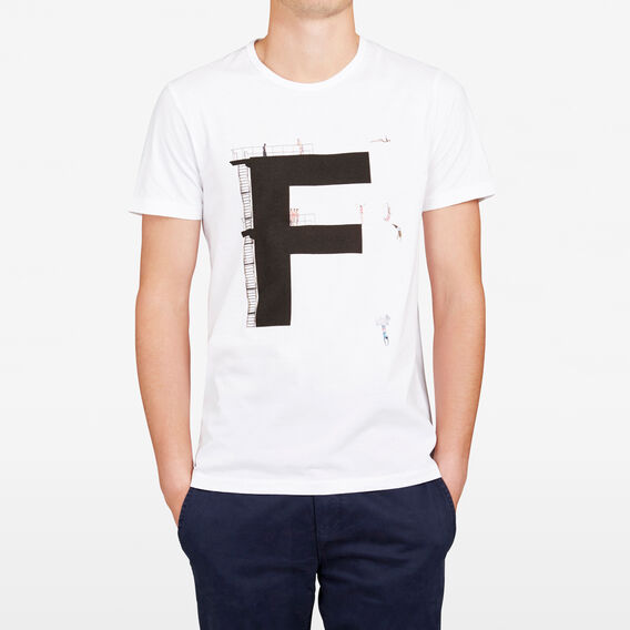 DIVING 'F' CREW NECK T-SHIRT  WHITE  hi-res