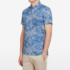 PALM LEAF CLASSIC FIT SHIRT  MID BLUE  hi-res