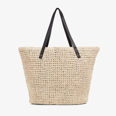 CONTRAST STRAW TOTE BAG  NATURAL/BLACK  hi-res