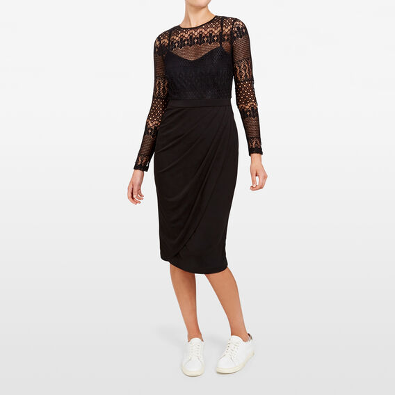 LACE DRAPE DRESS  BLACK  hi-res
