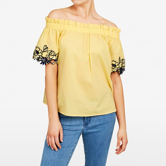 OFF SHOULDER LACE TRIM SHIRT  YELLOW  hi-res