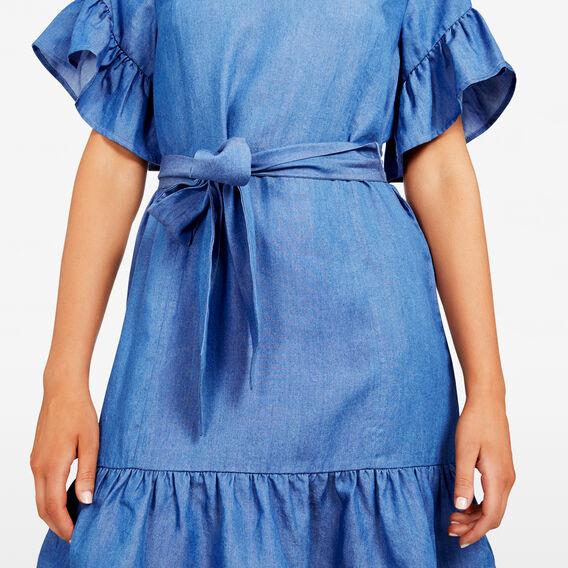 RUFFLE SLEEVE CHAMBRAY DRESS  CHAMBRAY  hi-res