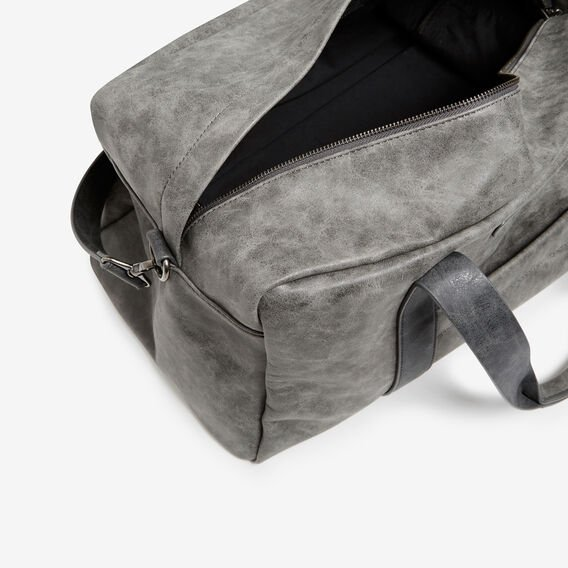 LEATHER LOOK DUFFLE BAG  VINTAGE DARK GREY  hi-res