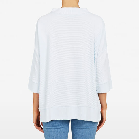 MOCK NECK RIB TEE  FRESH BLUE  hi-res