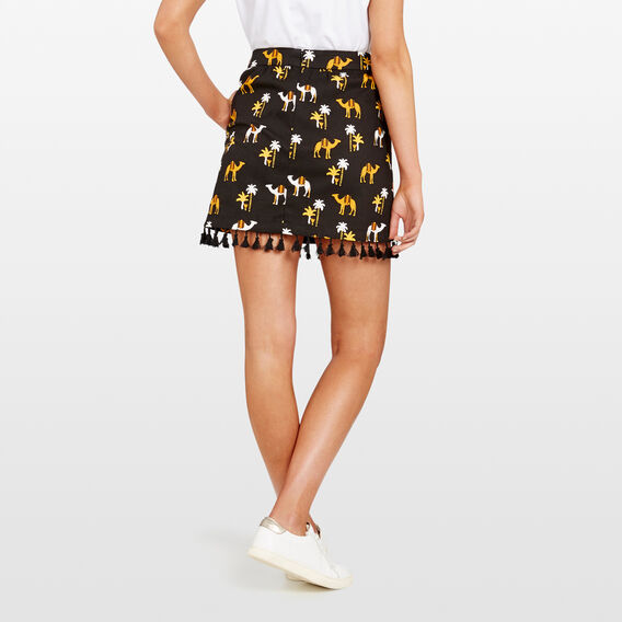 CAMEL PRINTED SKIRT  BLACK/MULTI  hi-res