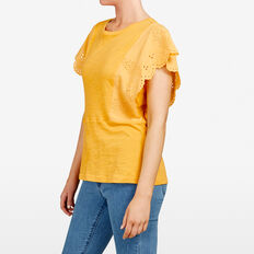 EMBROIDERED FRUIT TEE  TUMERIC  hi-res