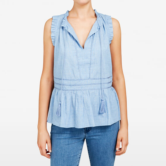FRILL SLEEVELESS SHIRT  SKY BLUE  hi-res