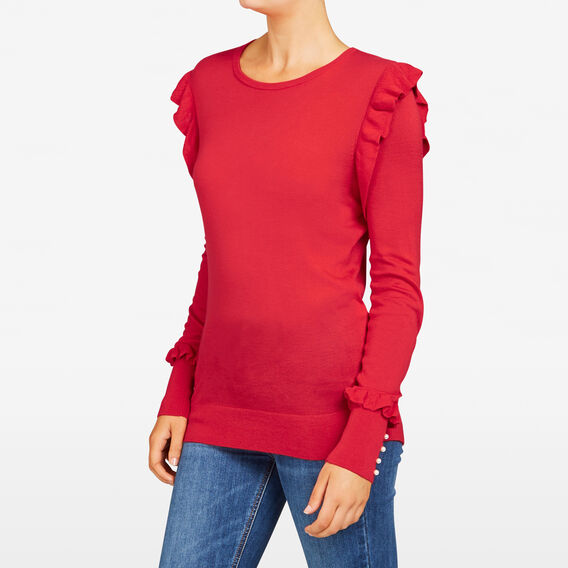 RUFFLE SLEEVE KNIT  RED  hi-res