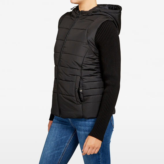 KNIT SLEEVE PUFFER JACKET  BLACK  hi-res