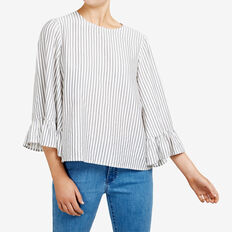 BELL SLEEVE STRIPED SHIRT  SUMMER WHITE/NOCTURN  hi-res