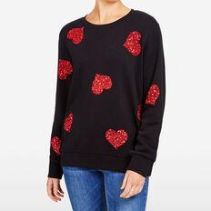 SEQUIN HEART SWEAT  BLACK/RED  hi-res