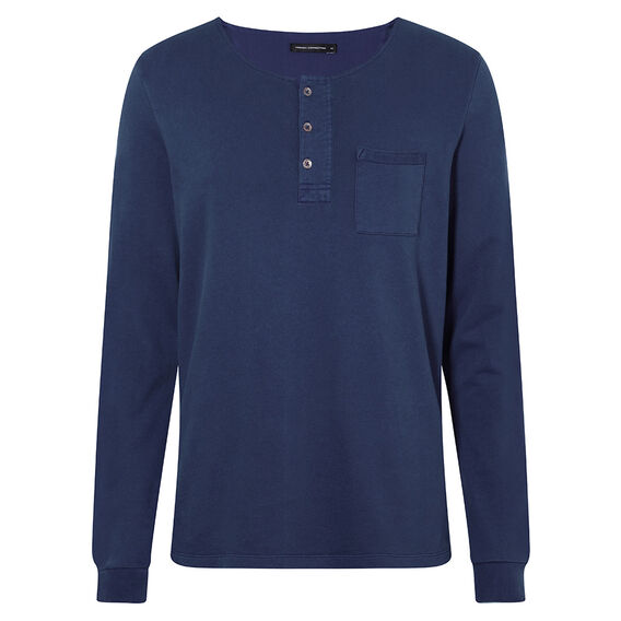 LONG SLEEVE HENLEY WITH POCKET  NAVY  hi-res