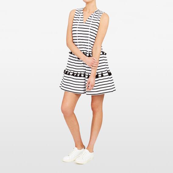 TIERED TASSEL STRIPE DRESS  SUMMER WHITE/BLACK  hi-res