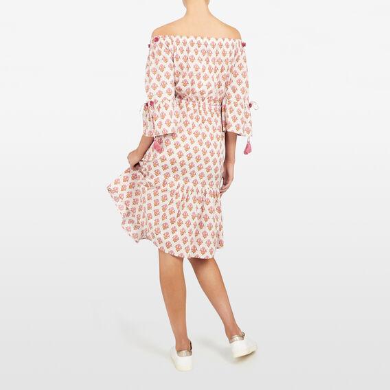 FLORAL COLD SHOULDER DRESS  FUCHSIA/STONE  hi-res