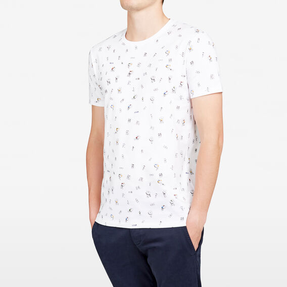 ON THE BEACH PRINTED CREW NECK T-SHIRT  WHITE  hi-res