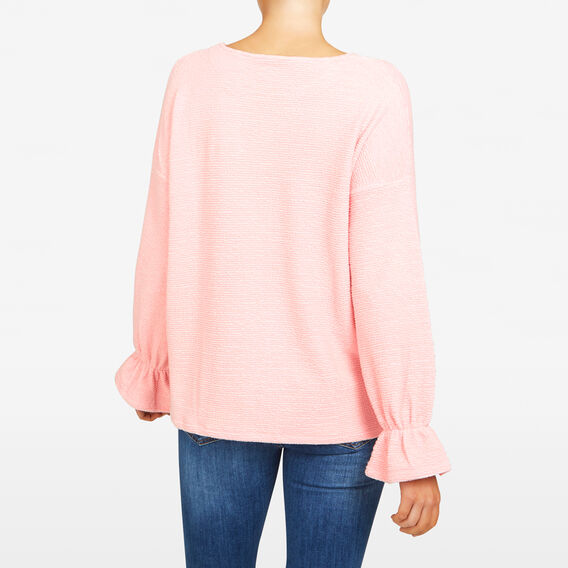 ELLEN TEXTURED BELL SLEEVE TEE  BLUSH  hi-res