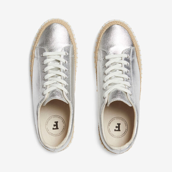 ESPADRILLE LEATHER SNEAKER  SILVER  hi-res