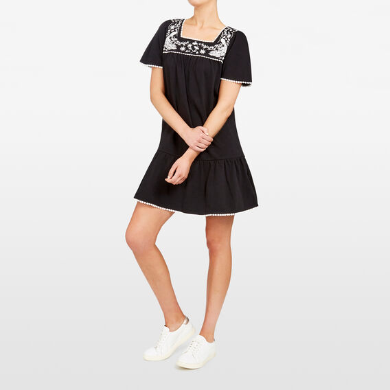 EMBROIDERED JERSEY DRESS  BLACK/MULTI  hi-res
