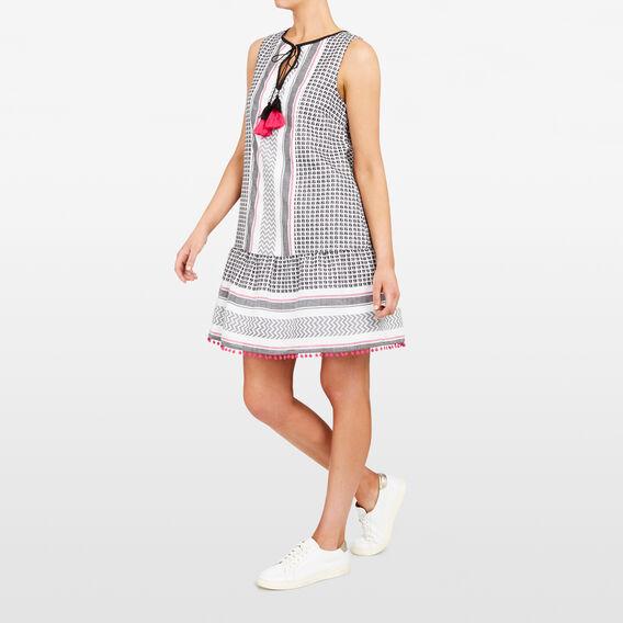 TEXTURED TASSEL DRESS  SUM WHT/BLACK/FUCHSI  hi-res