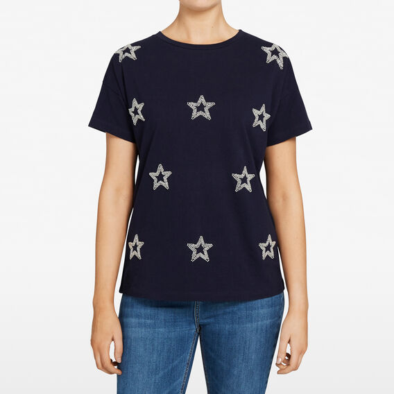BEADED STAR TEE  NOCTURNAL/SILVER  hi-res