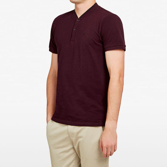 COLLARLESS TIPPING POLO  BURGUNDY  hi-res
