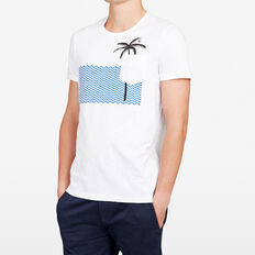 WAVEY PALM CREW NECK T-SHIRT  WHITE  hi-res