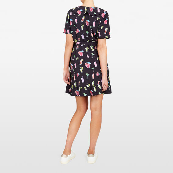 COCKTAIL PRINTED RUFFLE WRAP DRESS  BLACK/MULTI  hi-res