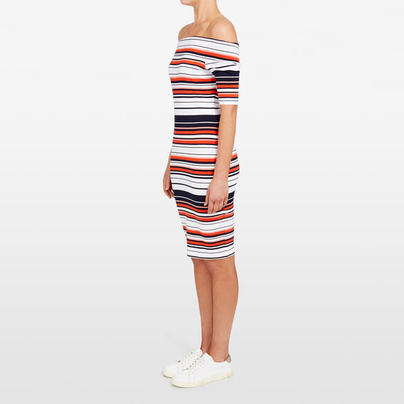 JERSEY STRIPE  BANDAGE DRESS  SUMMER WHITE/NOCTURN  hi-res