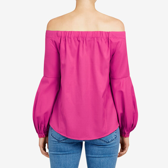 BILLOWING SLEEVE OFF SHOULDER SHIRT  FUCHSIA  hi-res