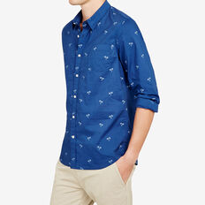 PALM RESORT REGULAR FIT SHIRT  SNORKEL BLUE  hi-res