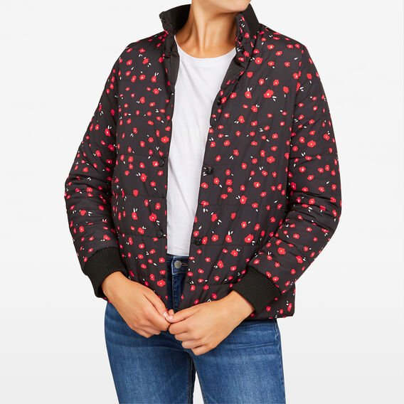 REVERSIBLE POPPY PUFFER JACKET  BLACK MULTI  hi-res