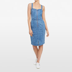 DENIM PENCIL DRESS  STONE WASH  hi-res