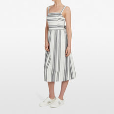 STRIPE SHIRRED DRESS  SUMMER WHITE/BLACK  hi-res