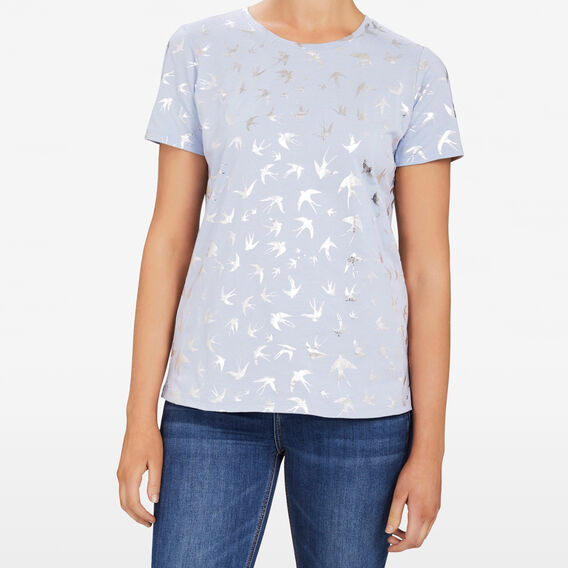 EMBELLISHED BIRD TEE  LIGHT BLUE/SILVER  hi-res