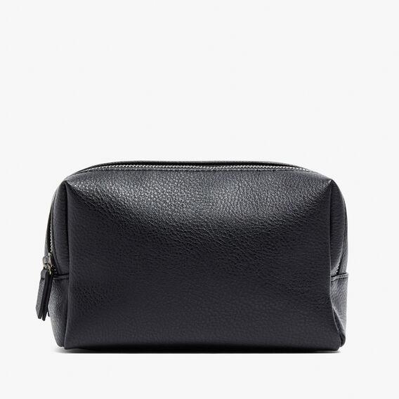 LEATHER LOOK WASH BAG  BLACK  hi-res