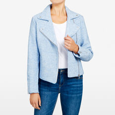 THE ESSENTIAL BIKER JACKET  PALE BLUE  hi-res