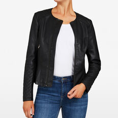 QUILTED PEPLUM JACKET  BLACK  hi-res