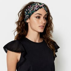 CUBAN PEACOCK HEAD SCARF  BLACK MULTI  hi-res