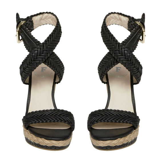PLAITED WEDGES  BLACK  hi-res