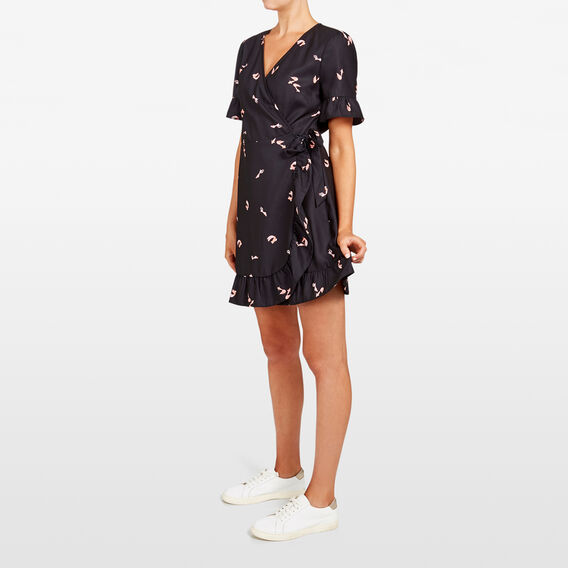 GOLD FISH PRINTED WRAP DRESS  BLACK MULTI  hi-res