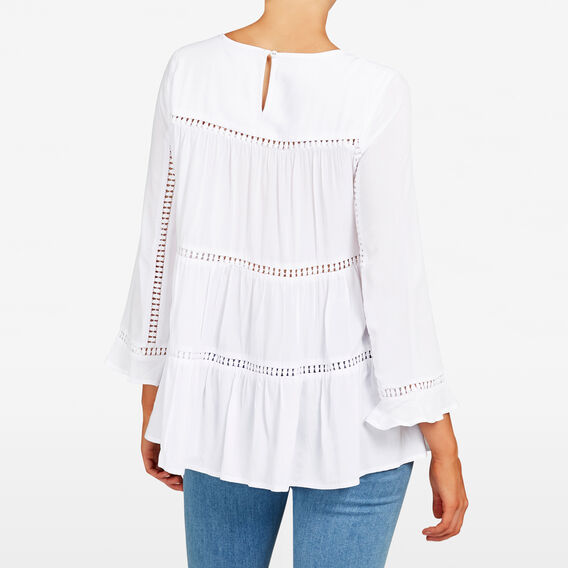 LACE TRIM SWING SHIRT  SUMMER WHITE  hi-res