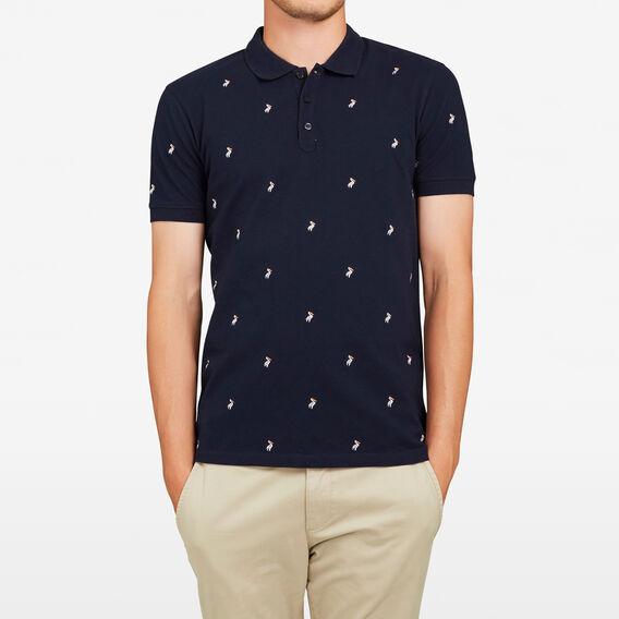 EMBROIDERED PELICAN POLO  MARINE BLUE  hi-res