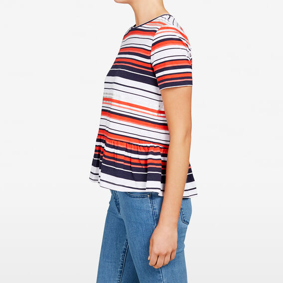 METALLIC STRIPE TEE  SUMMER WHITE/RED  hi-res